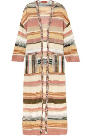 Missoni | Oversized striped metallic crochet-knit cardigan | NET-A-PORTER.COM