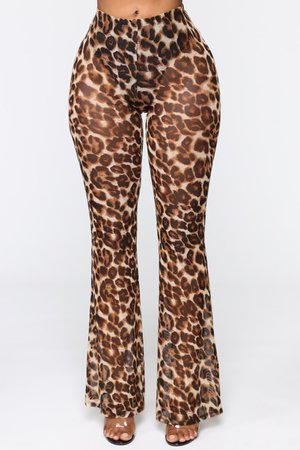 Late Night Bite Mesh Flare Pants - Brown – Fashion Nova