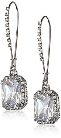 Betsey Johnson Women's CZ Crystal Square Earrings Crystal/Silver Drop Earrings: Jewelry