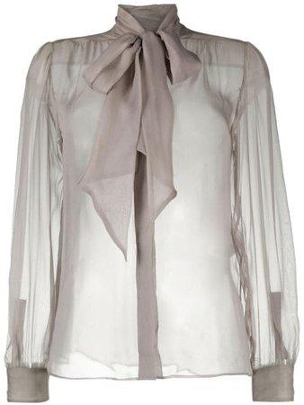 Saint Laurent Sheer Silk Bow Blouse - Farfetch