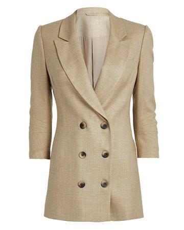 Double-Breasted Long Beige Blazer | INTERMIX®
