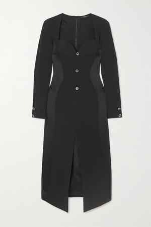 Black Embellished crepe and satin midi dress | David Koma | NET-A-PORTER