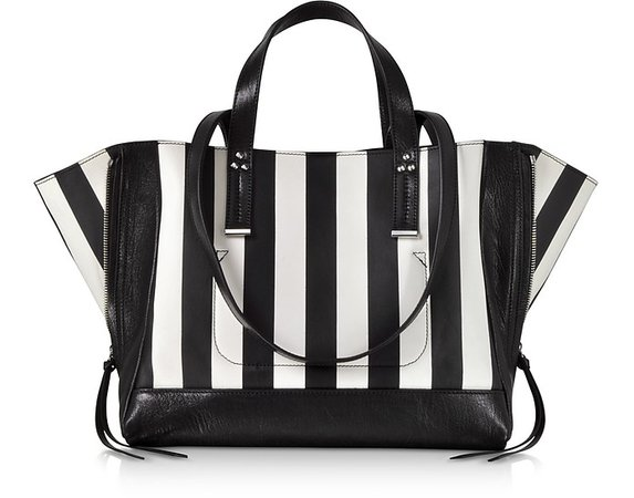 Jerome Dreyfuss Georges M Black and White Stripes Leather Tote Bag at FORZIERI