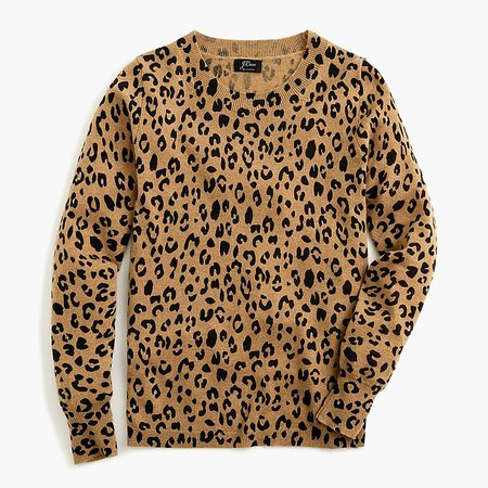J.Crew: Long-sleeve Everyday Cashmere Crewneck Sweater In Leopard