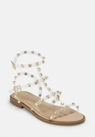 Gold Look Clear Dome Stud Gladiator Sandals | Missguided