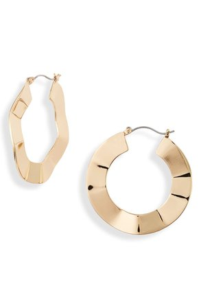 Halogen® Wavy Hoop Earrings | Nordstrom