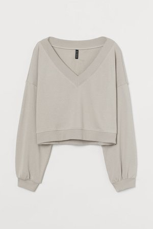V-neck Sweatshirt - Brown