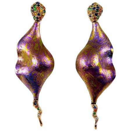 Diamonds Sapphires Tsavorites 18 Karat Gold Timascus Earrings For Sale at 1stDibs