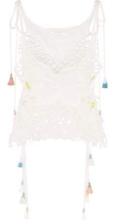 Tasseled Broderie Anglaise And Tulle-paneled Linen-blend Camisole