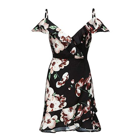 Amazon.com: HIRIRI Women Wrap Ruffle Hem Short Dress Camisole Off Shoulder V-Neck Print Tank Mini Sundress: Clothing