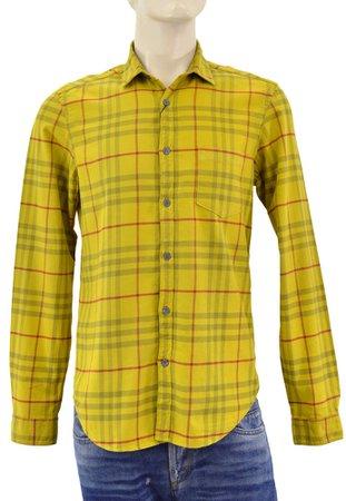 BURBERRY Brit Gold Saffran Check FLANNEL Casual Mens