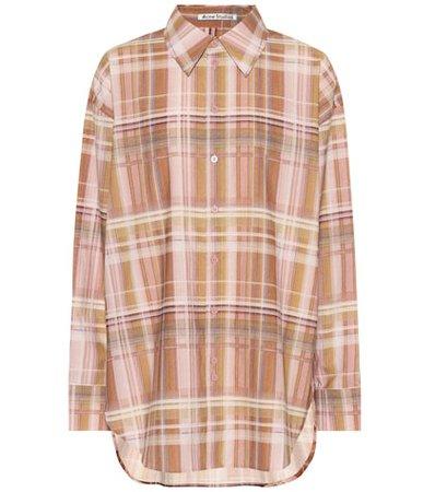 Oversized plaid cotton shirt
