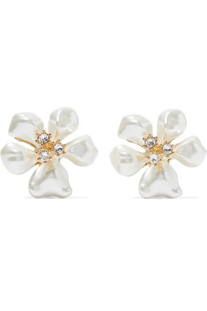 Kenneth Jay Lane   Gold-tone, faux pearl and crystal clip earrings   NET-A-PORTER.COM