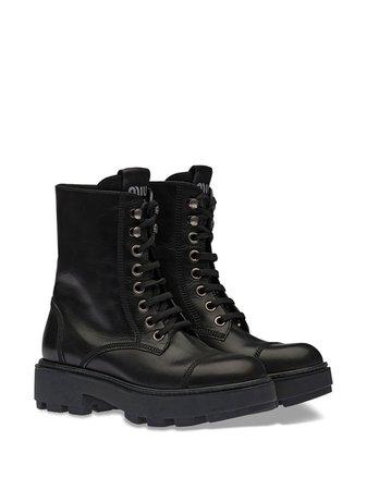 Miu Miu lace-up ankle-length boots - FARFETCH