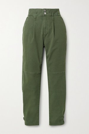 Monika Stretch-cotton Twill Tapered Pants - Army green