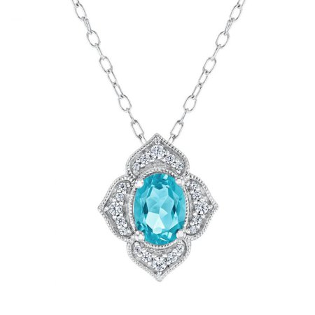Enchanted Disney Fine Jewelry Jasmine Oval Swiss Blue Topaz and Diamond Pendant Necklace 1/10ctw - Item 19963404 | REEDS Jewelers