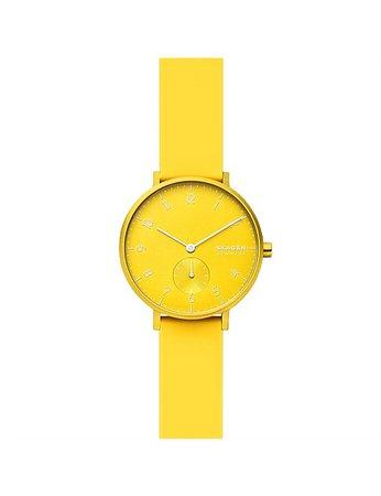 Skagen | Buy Skagen Watches & Accessories Online | David Jones - Aaren Kulor Neon Yellow Watch