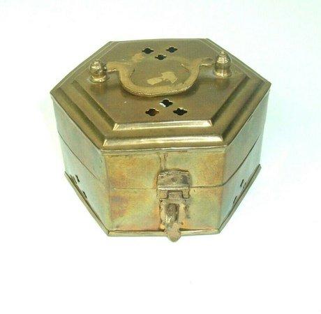 Vtg brass octagon box with lid handle holes incense potpourri MCM 70s | eBay