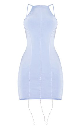 Nude Stitch Halterneck Tie Back Bodycon Dress   PrettyLittleThing USA