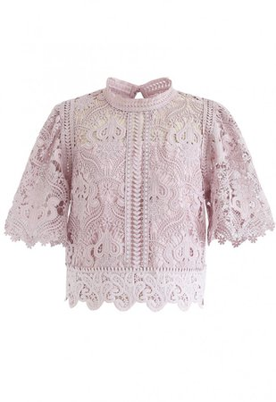 Crochet Bell Sleeves Cropped Top in Pink - NEW ARRIVALS - Retro, Indie and Unique Fashion