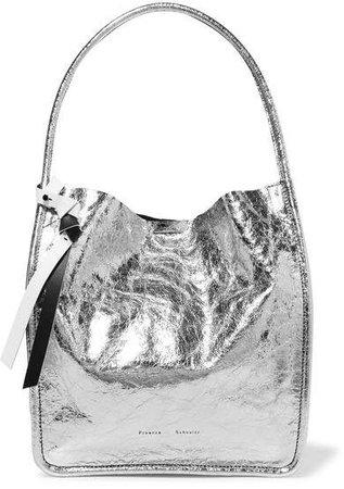 Metallic Crinkled-leather Tote - Silver