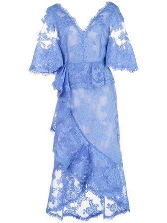 Marchesa, Lace V-Neck Midi Dress