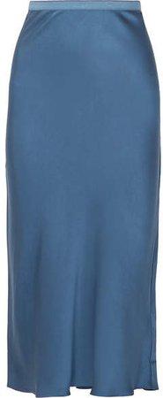 Bar Silk-satin Midi Skirt - Blue
