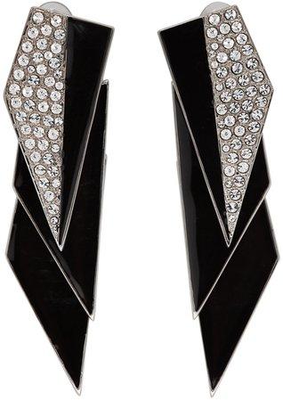 Saint Laurent: Silver & Black Crystal Smoking Earrings | SSENSE