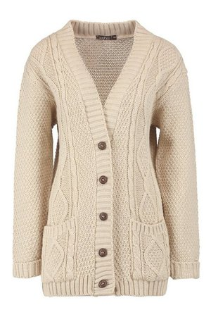 Cable Boyfriend Button Up Cardigan   Boohoo