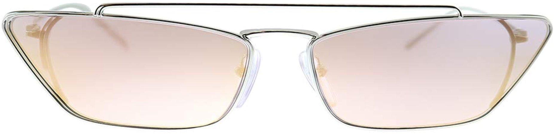 Prada PR 64US 1BC388 Silver Metal Cat-Eye Sunglasses Pink Mirror Lens: Clothing