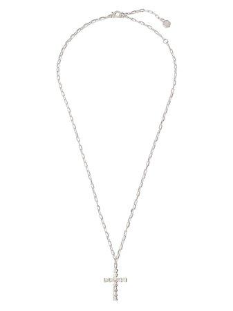 SHAY 18K white gold mini-cross diamond necklace - FARFETCH