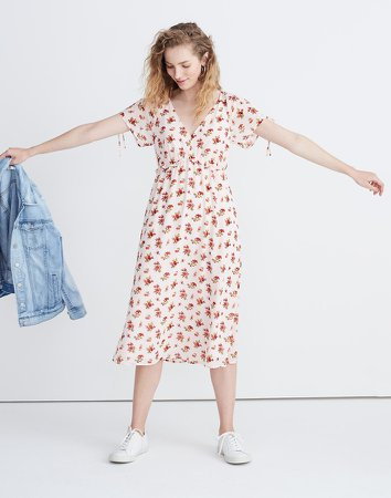 Tie-Sleeve Ruffle-Waist Midi Dress in Countryside Blooms