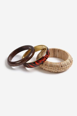**Mixed Wicker Bangle Pack - Jewellery - Bags & Accessories - Topshop