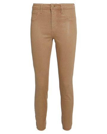 L'Agence | Margot Coated High-Rise Skinny Jeans | INTERMIX® beige