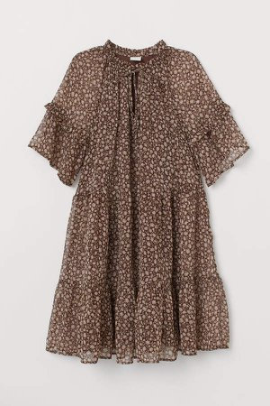 Short Chiffon Dress - Brown