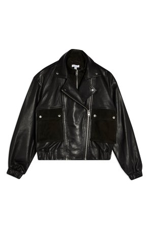 Topshop Kurt Leather & Suede Jacket | Nordstrom