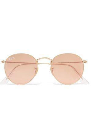Ray-Ban   Round-frame gold-tone mirrored sunglasses   NET-A-PORTER.COM