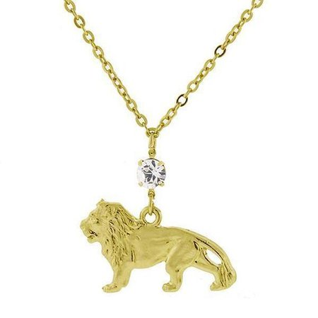 14 K Gold-Dipped with Crystal Cecil the Lion Necklace