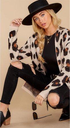 red dress cheetah sweater