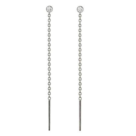 18K White Gold Diamond Chain Threader Earrings   Lena Cohen Fine Jewellery   Wolf & Badger