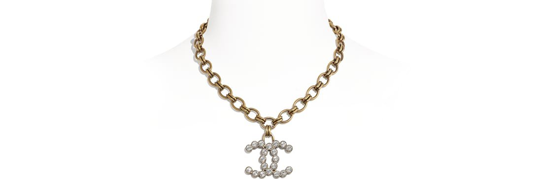 Necklace, metal & diamantés, gold & crystal - CHANEL