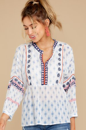 Chic White Top - Embroidered Long Sleeve Blouse - Tops - $52.00