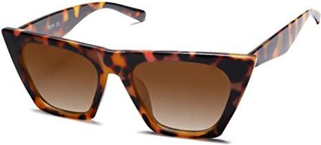 Amazon.com: SOJOS Retro Square Cateye Polarized Women Sunglasses Trendy Style BELLA SJ2115 with Brown Tortoise Frame/Gradient Brown Lens: Clothing