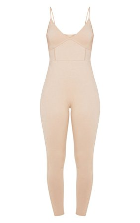 Stone Strappy Binding Detail Plunge Jumpsuit   PrettyLittleThing