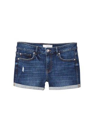 MANGO Medium wash denim shorts