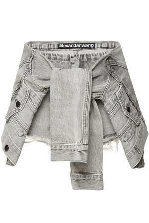 alexanderwang.t - Denim Skort with Sleeve Ties - grey