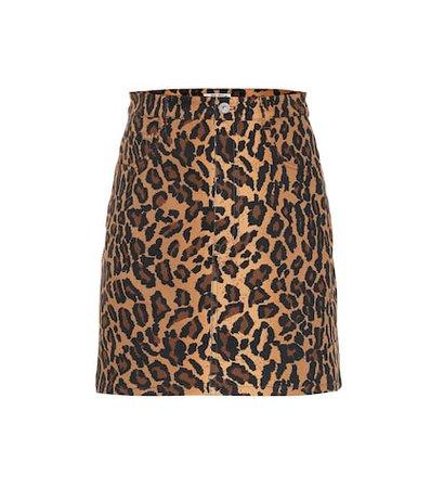 Leopard-printed denim miniskirt