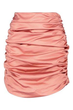Satin Ruched Mini Skirt | Boohoo
