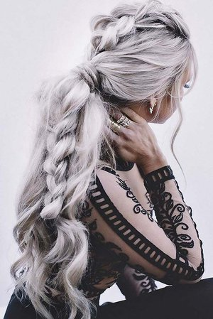Silver/Grey Ponytail & Braid