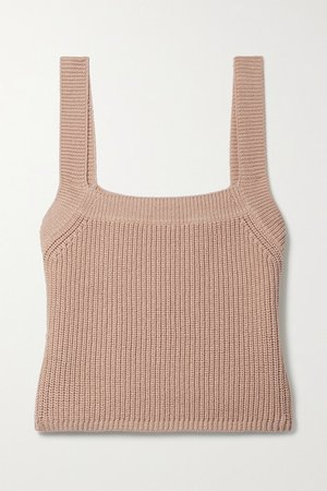 Yeta Cropped Ribbed Organic Cotton Tank - Sand